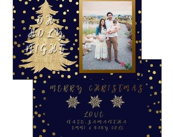 Oh holy night navy and gold Christmas card template
