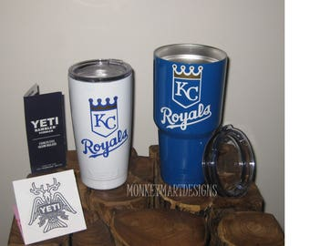 KANSAS CITY ROYALS 30oz Yeti Rambler Choose size and color,Personalized Yeti tumbler cup White Gold Blue