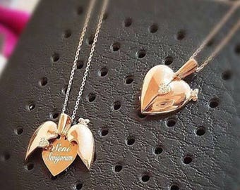 Mom Jewelry with Kids Names Necklace • Personalized Angel Wings Necklace •  Personalized Gift • Mothers Day Gift • Christmas Gift For Mom