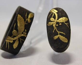 Fuchi Kashira Edo Period Fittings for Nihonto Iron Gold