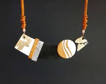"NECKLACE #1 ""Dunes"" polymer clay art jewel"