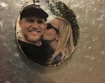 Custom photo wood magnet