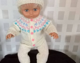 Winter outfit for any 15 inch and over doll - hat cardigan leggings and pumps - doll is just a model