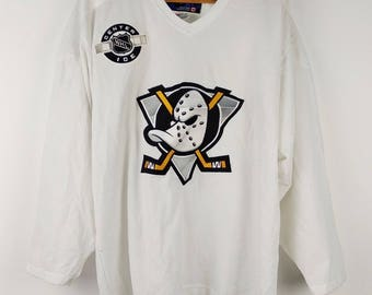 Rare Authentic NHL Mighty Ducks CCM Hockey Jersey Patch Sewn Jersey Men's Large