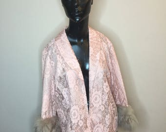 1950s/1960s Pink Lace Jacket with Faux Fur Cuffs