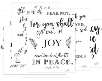 """7 Printables-Promises of Peace 8.5"""" x 11"""" Scripture Quotes - Instant Download"""