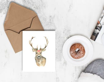 Watercolor Christmas Card | Antler Christmas Card | Holiday Card