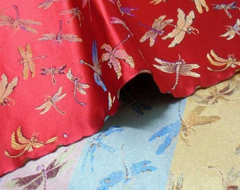 """36"""" wide Chinese brocade dragaonfly on Red shiny satin fabric faux silk material embroidered by the 0.5 YARDS, Yards Meters BR 611"""