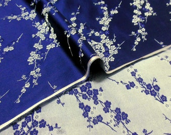 Huge Discount Chinese brocade satin fabric material dull gold blossom on royal blue  embroidered by the Yard Meters cbs 806