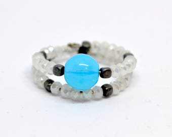Blue Pearl beaded Ring