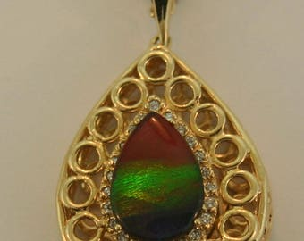 Large Canadian Ammolite and Diamond 14k Yellow Gold Pendant