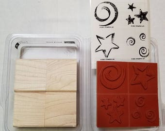 Stampin Up, Stars and Swirls, Set of 4, New, Unmounted, Rubber Stamps