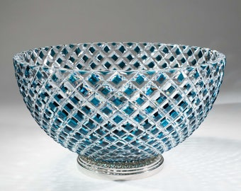 Last Call! 9000 Magnificent Rare Exquisite Beautiful Empire Aqua Crystal Bacarrat Style Centerpiece Bowl