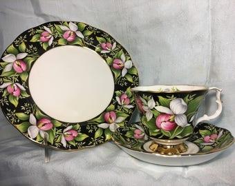 Royal Albert Provincial Flowers Lady's Slipper Lunch/Tea Cup Set (Fine Bone China England)