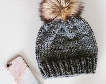 The Fur Baby Beanie   Knit Winter Toque   Fur Pom Pom Hat   Beanie