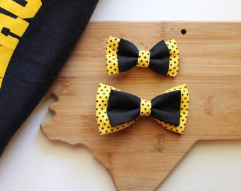 Appalachian State Mountaineer clip on bow tie - yellow polka dot bow tie - baby bow tie - toddler bow tie - ASU apparel - App state