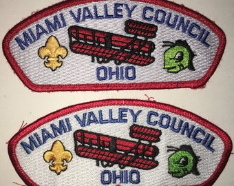 Boy Scout of America - Miami Valley Council - Ohio - Shoulder Patch - Set of Two - Used