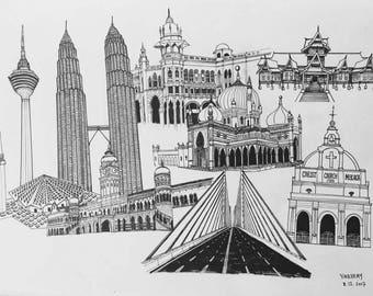 Print of Malaysian buildings drawings