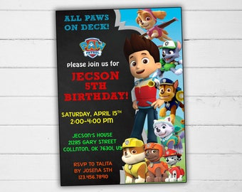 Paw Patrol Invitation, Paw Patrol Birthday Invitation, Paw Patrol Party Invitation, Paw patrol Invite, Paw Patrol party, Paw Patrol for Boy