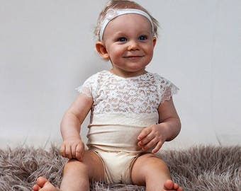 9 -12 Months Baby Romper, Sitter Outfit, Baby Props, Sitter Romper, 9 Month Photo Outfit Girl, 12 Month Girl Clothes, Lace Romper