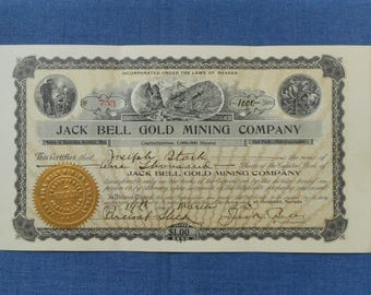 Jack Bell Gold Mining Company * 1908 Stock Certificate * Nevada