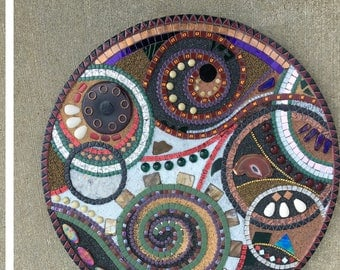 "24 inch circular mixed media mosaic, abstract, ""Inverse Formation"""