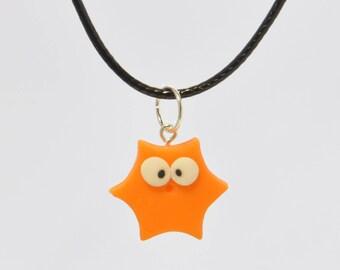 Necklace with pendant in corn-paste starlet orange-cold porcelain