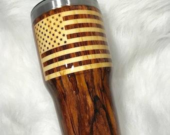 Woodgrain Stainless Steel Tumbler Cup