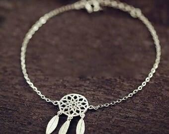 Bracelet with Dream pendant silver Dreamcatcher Minimal