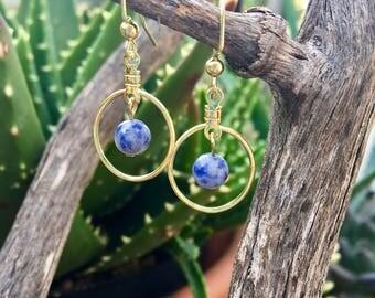 blue/grey gold earrings