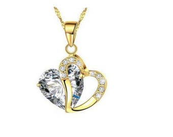 Clear Crystal Rhinestone Heart Necklace