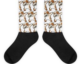 Funny Dabbing English Bulldog Socks, Cute English Bulldog Gift, Bulldog Dog Dab Dance Print