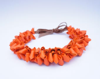 Leather, Orange, Necklace, Leather Necklace, Necklace, Orange Flower Necklace, Choker