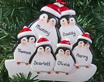 Personalised Christmas Tree Decorations - Xmas Penguin Family of 3, 4, 5 or 6