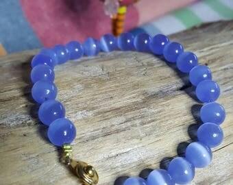 d blue agate Bead Bracelet