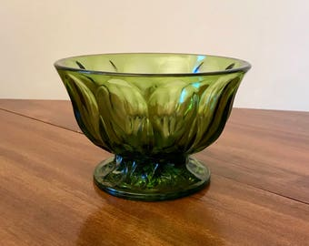 Green Pressed Glass Candy Dish