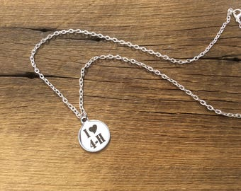 """I love 4H engraved stainless steel charm necklace on 20"""" textured cable chain."""