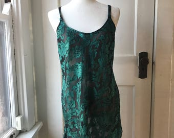Emerald Green and Black Vintage Slip Dress