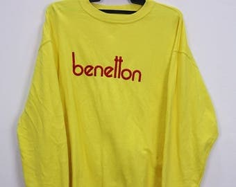 Vintage United Colors Of Benetton Sweatshirt Big Logo Embroidery Yellow colour Large size Made in Indonesia
