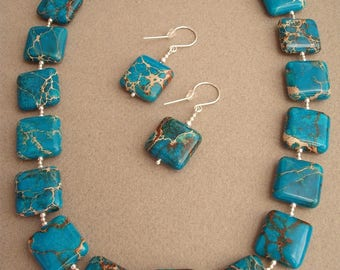 Atlantis, Necklace and earrings made of jasper (oceanic) and silver
