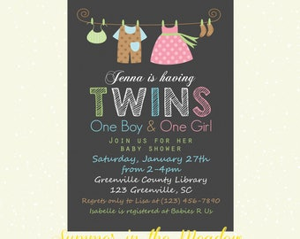 Twins Baby Shower Invitation, Boy and Girl Twins Invitation, Clothesline