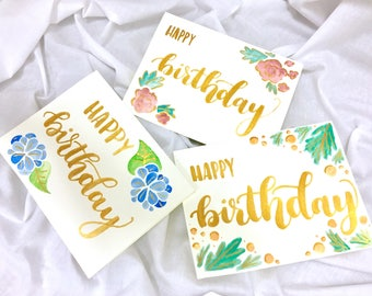 3 Pack Happy Birthday Floral Watercolor Metallic Gold Hand Lettered Cards with Envelopes
