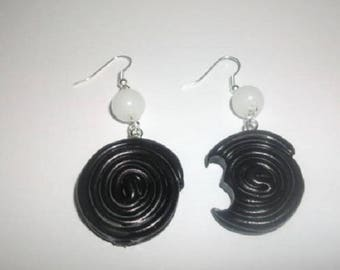 Licorice polymer clay earrings and bead
