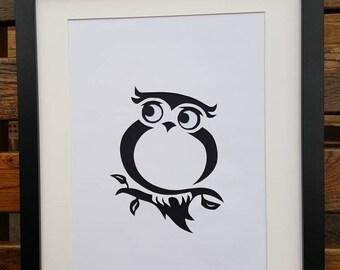 Owl picture - handmade papercut wall art. Owl silhouette unframed.