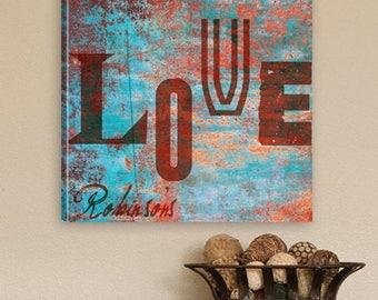 Personalized Graffiti Style Love Canvas Print  - Personalized Love Prints - Love Canvas Prints - Graffiti Style Canvas Prints - Wall Decor