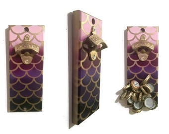Magnetic Bottle Opener - Wall Mount Cap Catcher - Purple and Gold Ombre Mermaid Scale Design - Mermaid Bottle Opener - Fish Scales