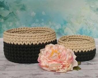 """Crochet baskets set """"Coffee"""""""