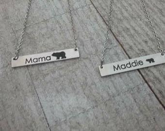 Mother daughter necklaces, Mama bear mother daughter jewelry set, mommy and me necklace set, personalized necklaces, Valentine's day gift