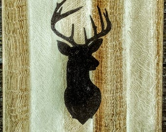 Rustic Buck sillouettte acrylic painting on wood Home decor sign