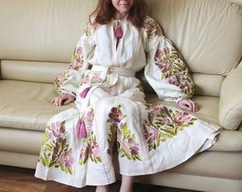 Long Sleeve Wedding Dress Custom boho dress Boho Ukrainian Embroidery Vyshyvanka Dresses Custom Bohemian Dress Long Dress Boho Clothing